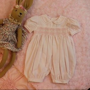 PETIT AMI Pink Floral Smocked Bubble Romper